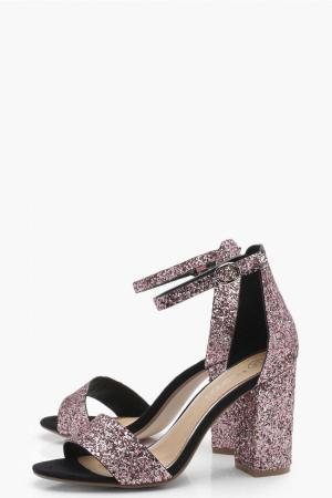 BOOHOO Paige Glitter Block Heels