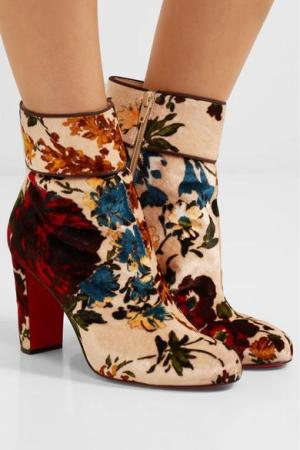 CHRISTIAN LOUBOUTIN Moulamax 85 floral-print velvet ankle boots