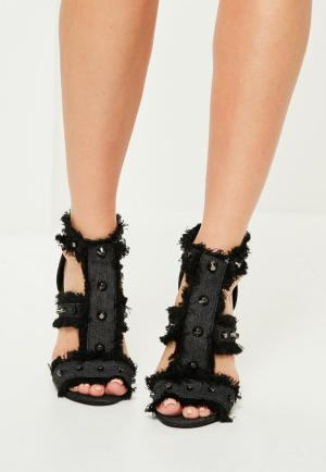 MISGUIDED grey studded frayed gladiator heeled sandals
