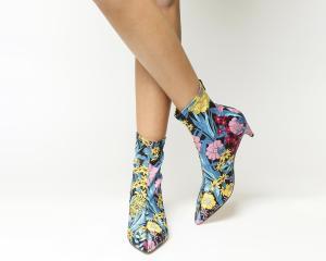 Office Atomic Stretch Kitten Heels Floral Satin Print
