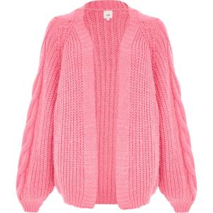 river island Pink balloon sleeve cable knit cardigan