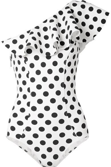 LISA MARIE FERNANDEZ Arden ruffled one-shoulder polka-dot bonded swimsuit