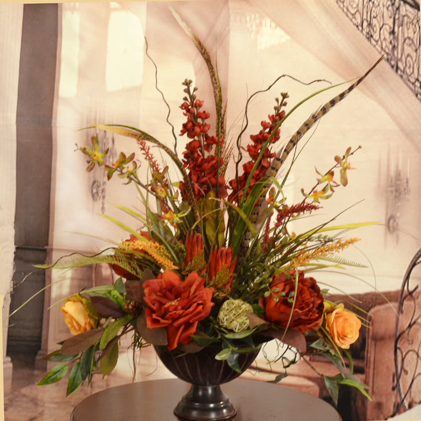 Deep Red And Gold Large Silk Flower Arrangement With
