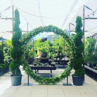 Greenery circle / moongate arbor at the Blockhouse