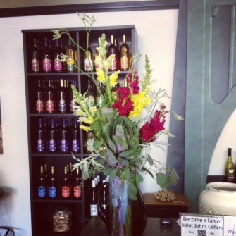 Weekly flowers for a winebar