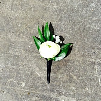 white ranunculus bud boutonniere