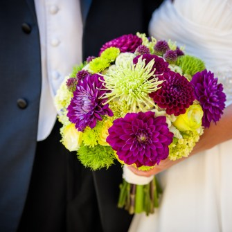 purple & green bridal bouquets