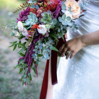 Maria's cascading bridal bouquet. Photo by Tom Rooney.