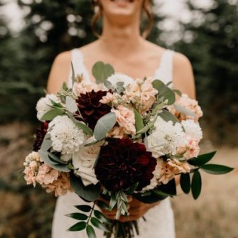 Summer burgundy, blush and white with simple bridesmaids