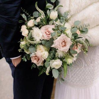 Classic garden-style white/cream & blush bouquet