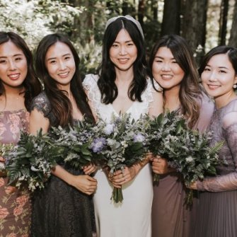Minimal floral with various greenery bouquets