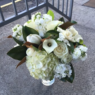Wedding flowers portland oregon mostly white bridal bouquet with magnolia blooms foliage mightylinksfo