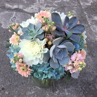 peach, white & blue bridal bouquet with succulents