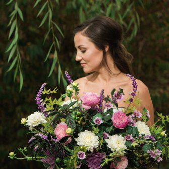 Pink purple & white garden bouquet