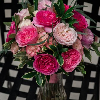 Mostly garden roses bridal bouquet