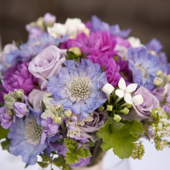 purple pastel flowers with scented geranium leaves for foliage