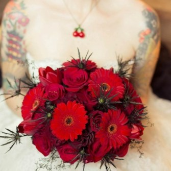 rockabilly red & black bridal bouquet