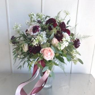 Boho blush, white & burgundy bouquet