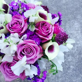 Purples & white bridal bouquet