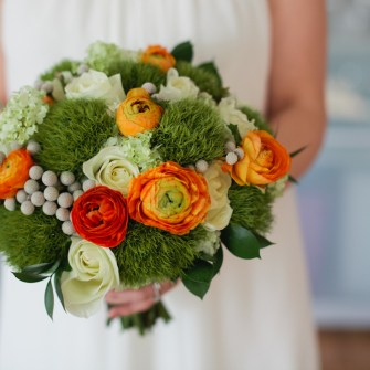 Modern orange, white & green bouquet with fun textures