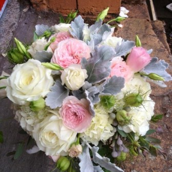 rustic white and white bouquet with garden roses