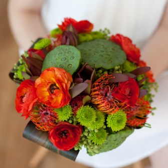 Tropical bouquet with lotus pods