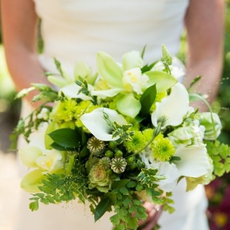 Bridal bouquet with white and green flowers and foliage