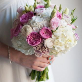 pink white bridal bouquet with garden roses