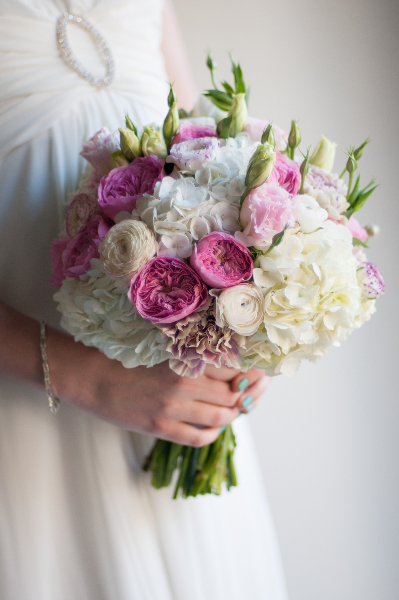 Pink U0026 White Bridal Bouquet With Garden Roses