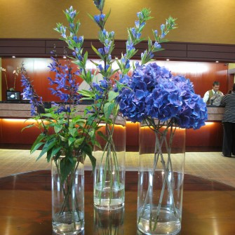 Grouping of blue flowers