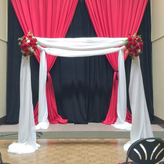 red & white mandap