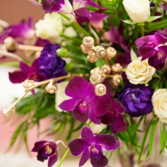 purple & gold orchid centerpieces - close-up