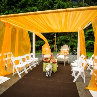 tangerine orange mandap - side view