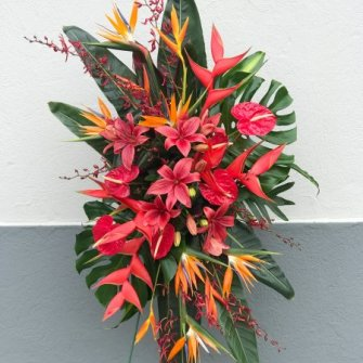 Large tropical standing spray in red and orange