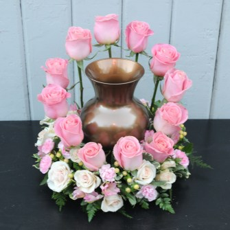 Rose urn arrangement