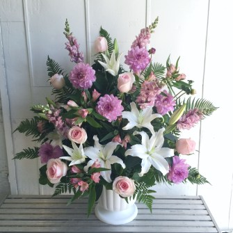 Another large feminine classic urn arrangement (white, pink & lavender)
