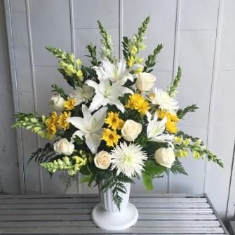 Medium white & yellow urn arrangement