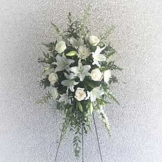 Lilies & roses white standing spray