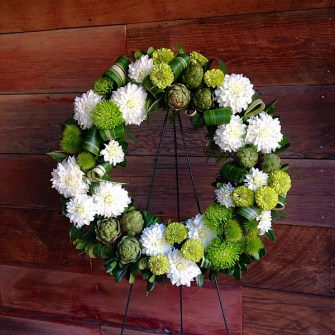 Modern green & white tesxtural  wreath