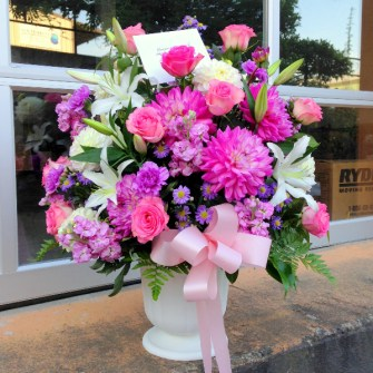 Purple & pink urn arrangement