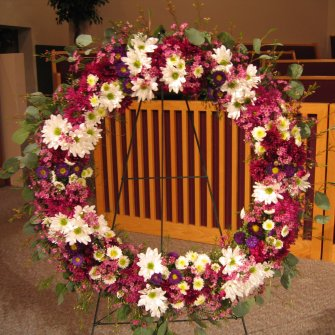 Wreath Standing Spray, purple & white