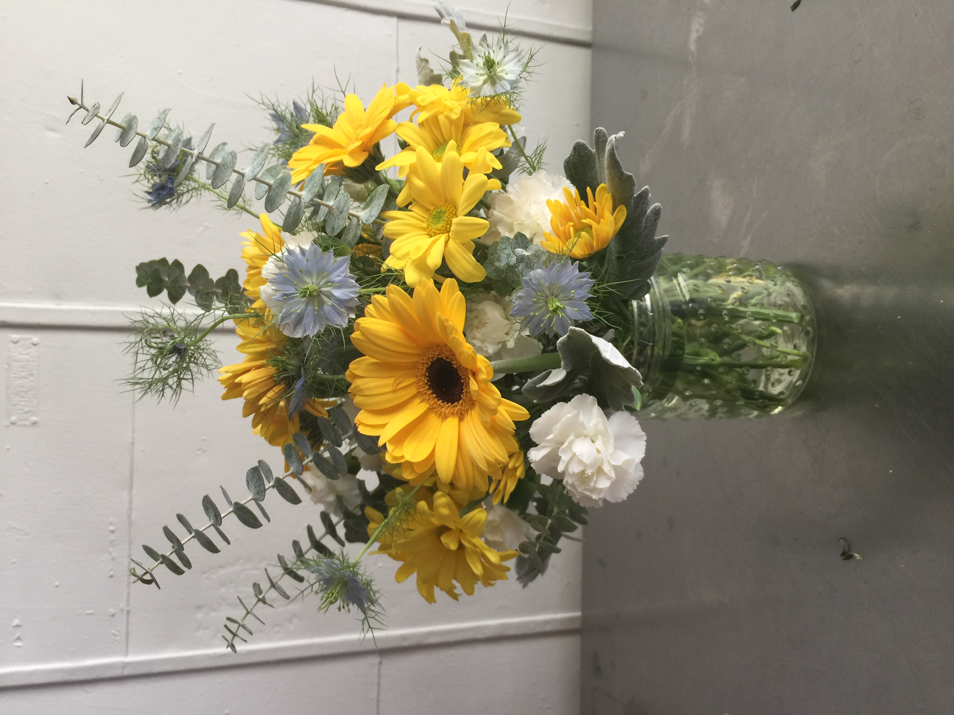 Flower arrangements gallery floral sunshine yellow gray mightylinksfo