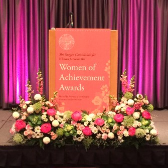 Podium flowers for women's event