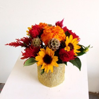 Fall flowers with gold bling