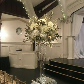 Tall white & gold centerpiece
