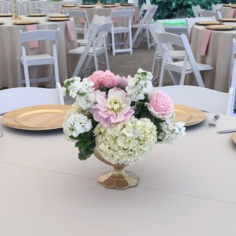 low centerpieces in gold compotes at Abernethy Center