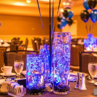 close-up of bar mitzvah centerpieces
