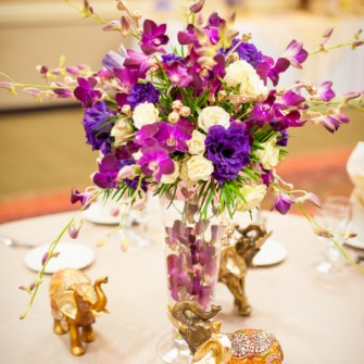 purple & gold flowers