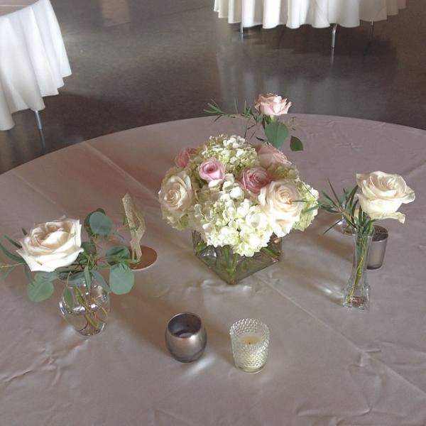 Flower arrangements gallery floral sunshine soft pink white centerpiece with surround bud vases soft pink white centerpiece with surround bud vases mightylinksfo