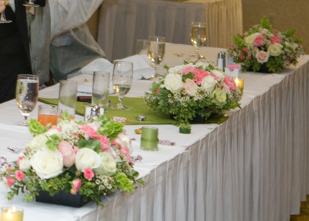 Pink And White Head Table Centerpiece